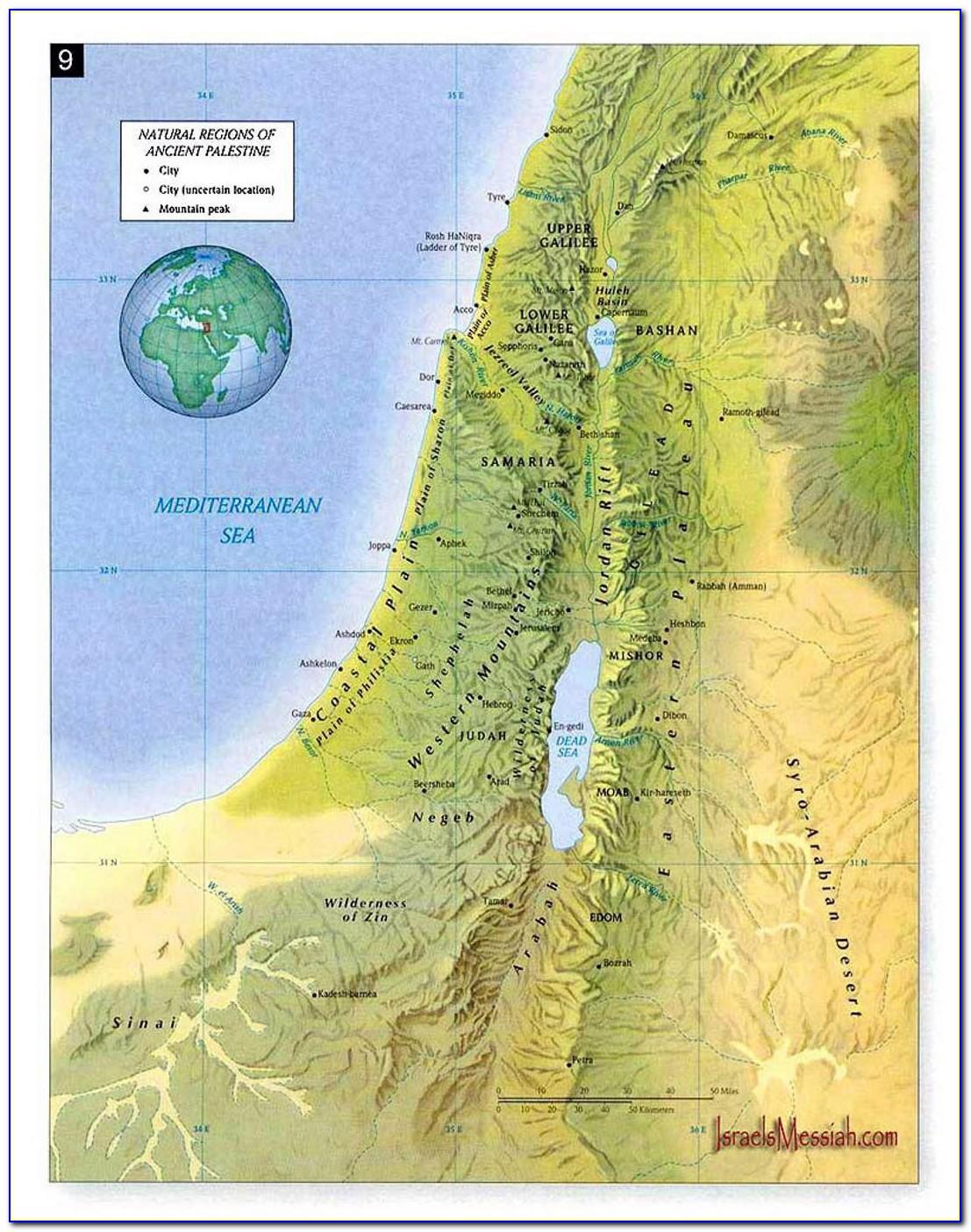 Map Ancient Palestine Time Jesus