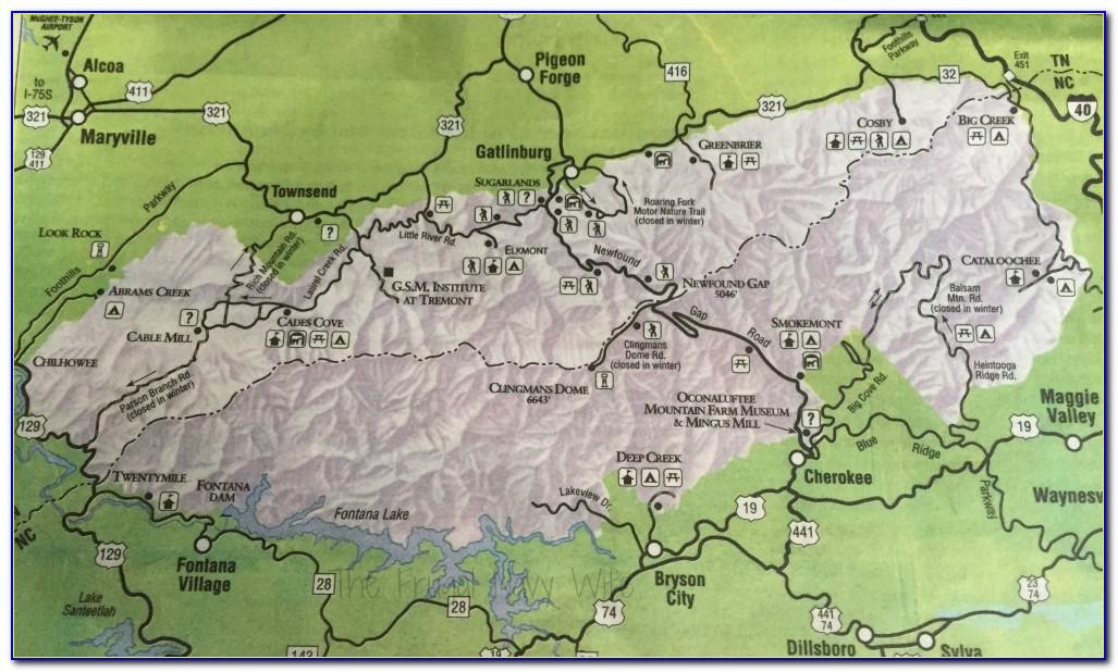 Map Great Smoky Mountain National Park