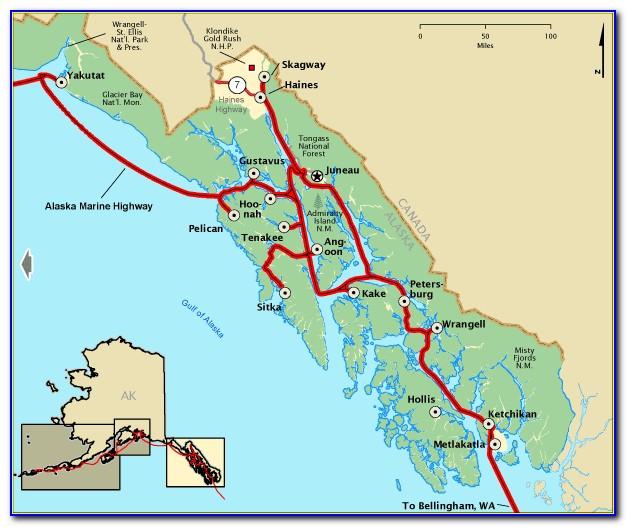 Map Inside Passage Alaska Cruise