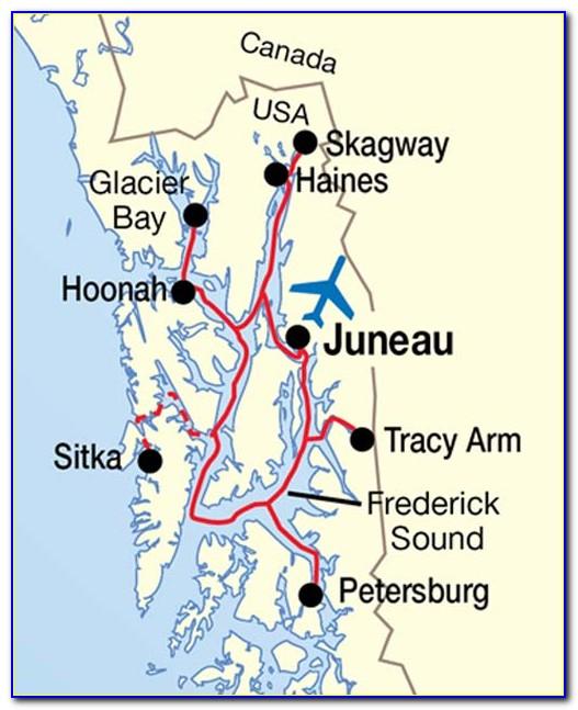 Map Inside Passage Vancouver Alaska