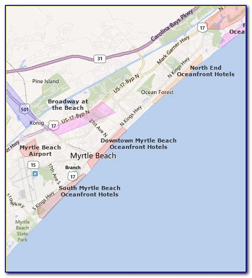 Map North Myrtle Beach Hotels