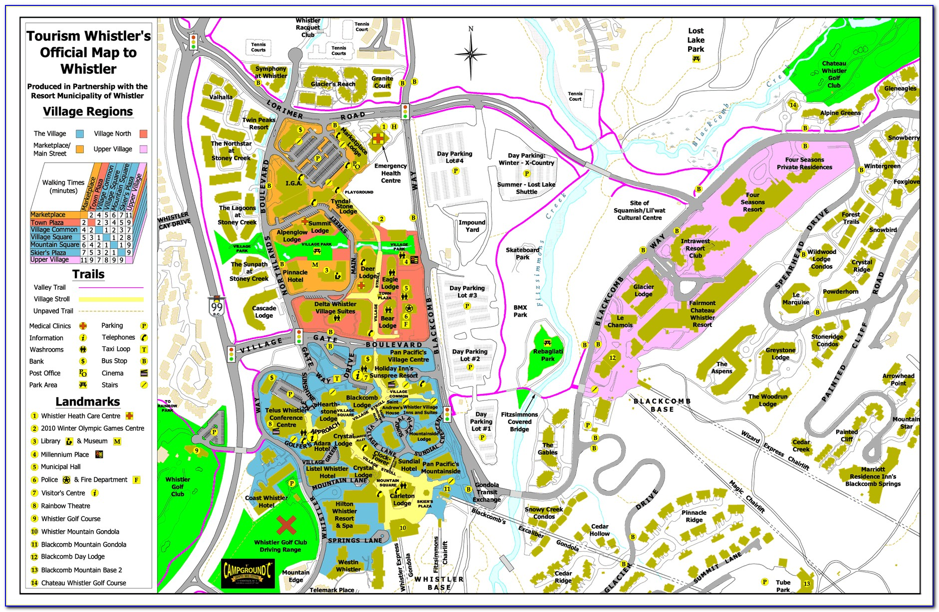 Map Of Accommodation In Whistler