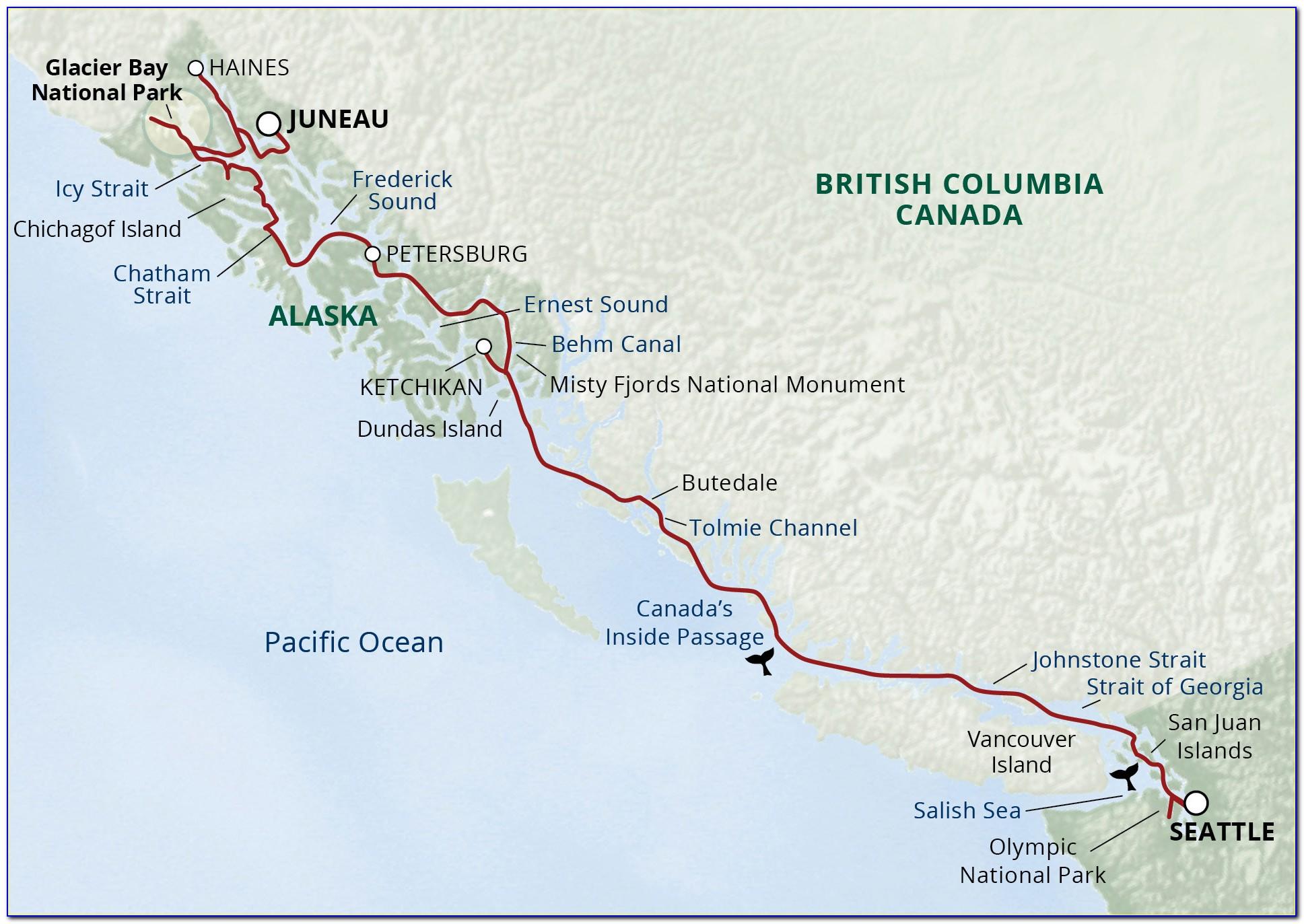 Map Of Alaska Inside Passage Cruise