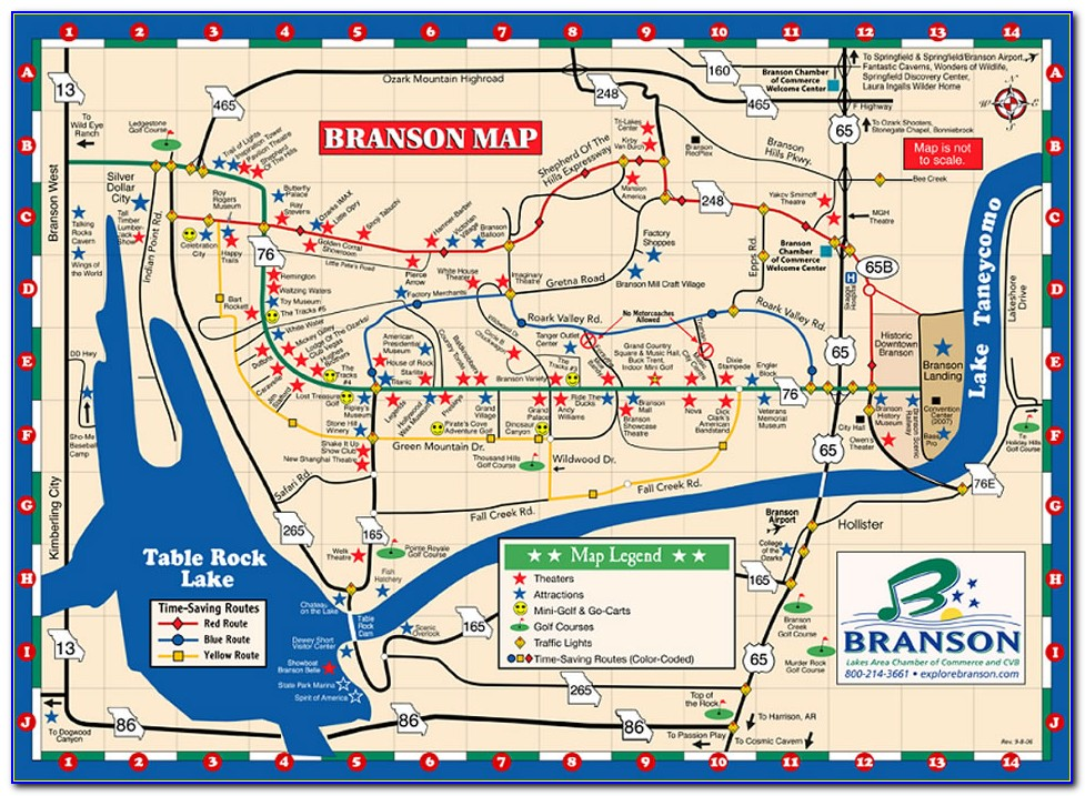 Map Of Branson Hotels On Strip