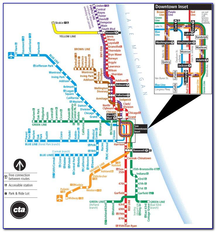 Map Of Chicago Transit Blue Line