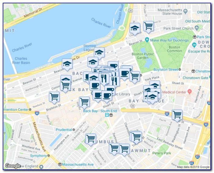 Map Of Downtown Boston Copley Square