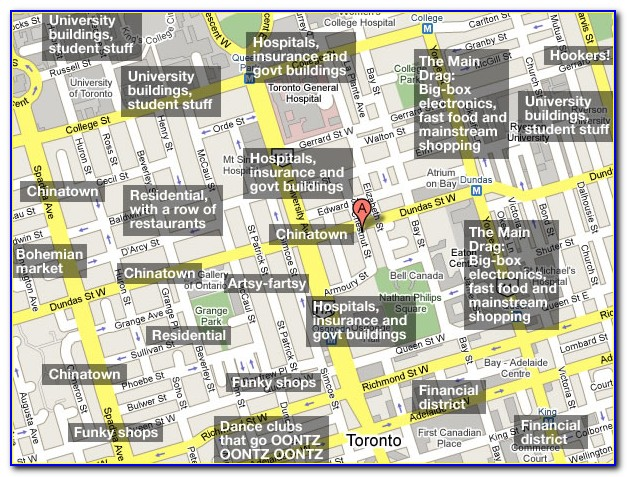 Map Of Downtown Toronto Showing Hotels