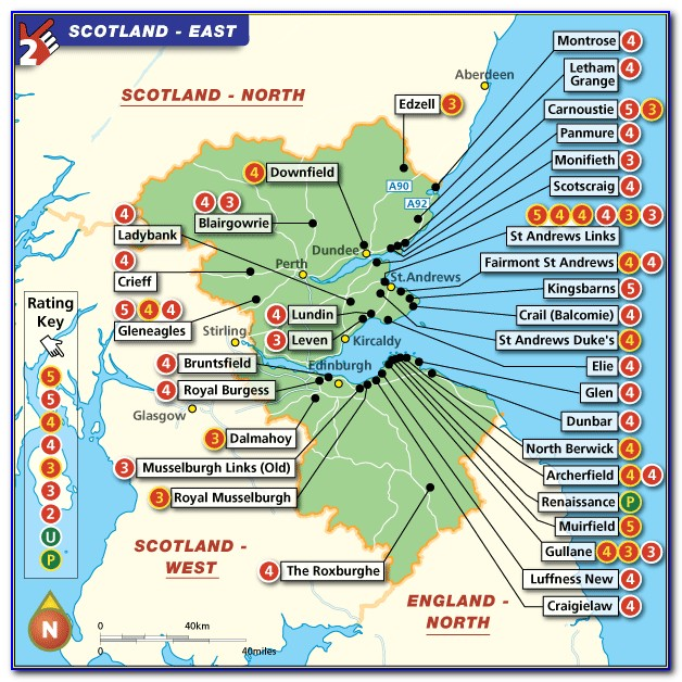 Map Of Famous Scottish Golf Courses