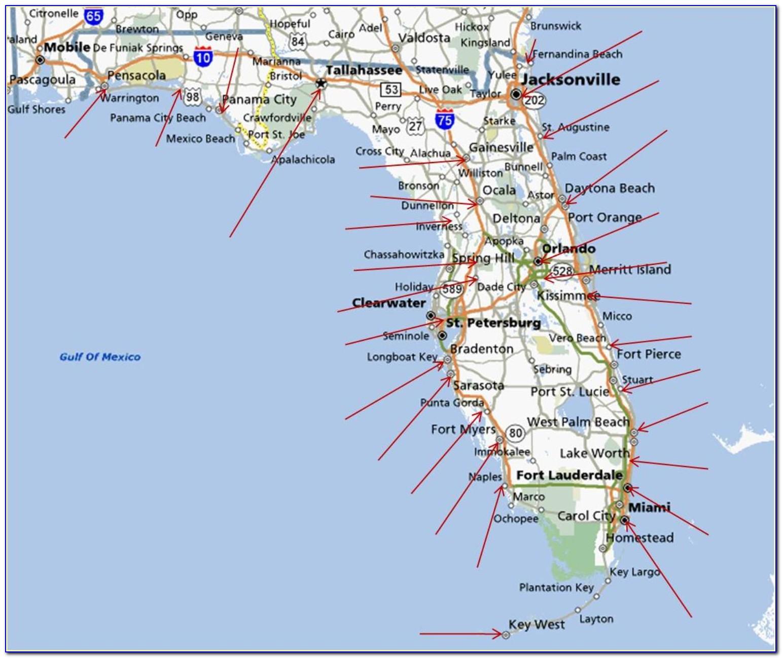Map Of Florida Gulf Coast Beach Cities
