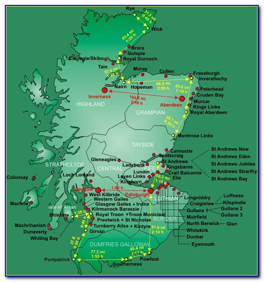 Map Of Great Golf Courses In Scotland