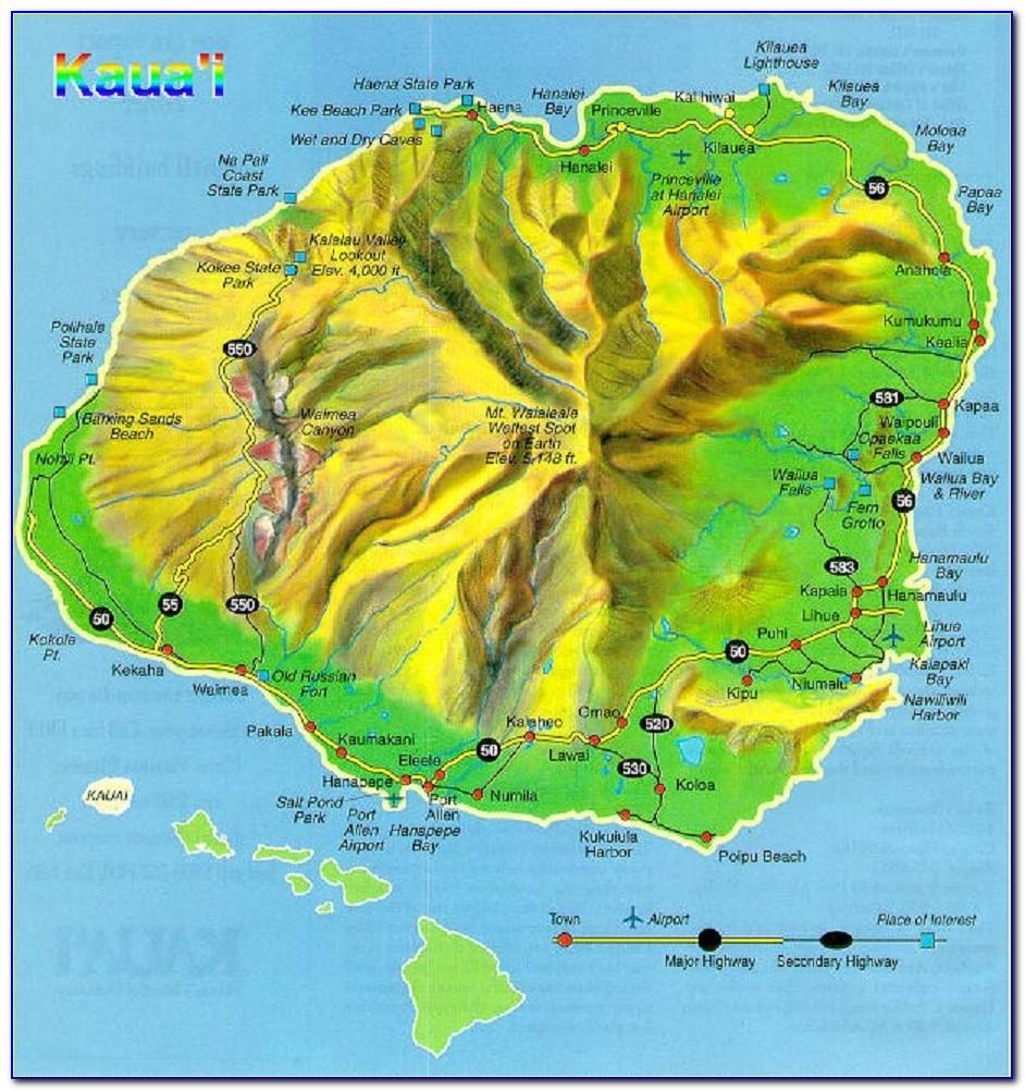 Map Of Hawaiian Islands Kauai