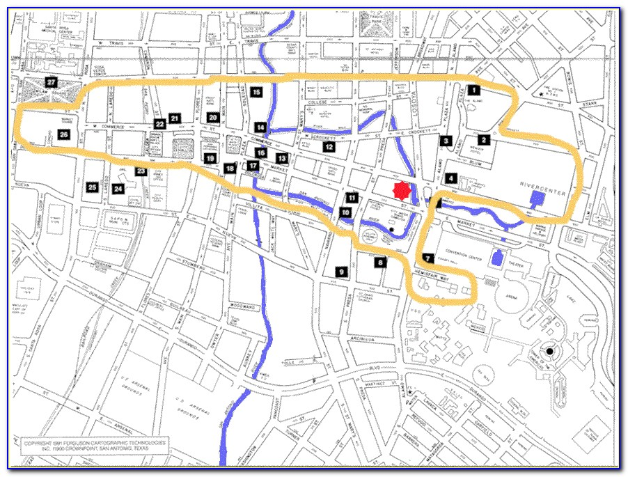 Map Of Hotels Along Riverwalk San Antonio