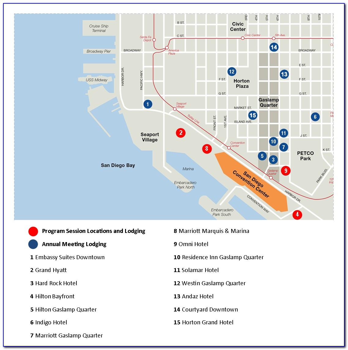 Map Of Hotels Around San Diego Convention Center