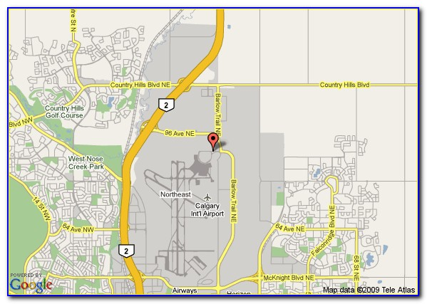 Map Of Hotels By Calgary Airport