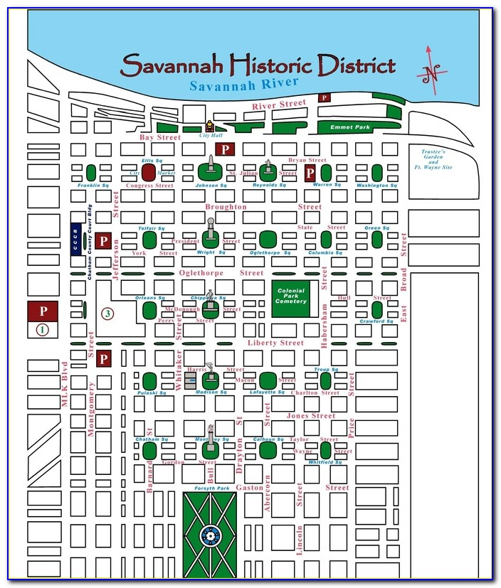 Map Of Hotels In Historic Savannah Ga