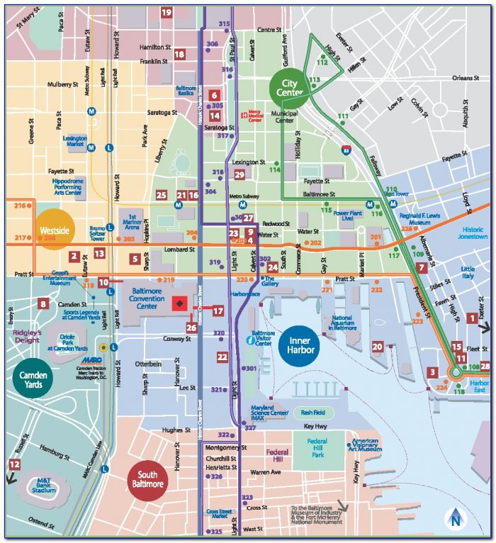 Map Of Hotels In Inner Harbor Baltimore Md