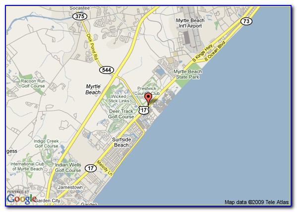 Map Of Hotels In Myrtle Beach Sc
