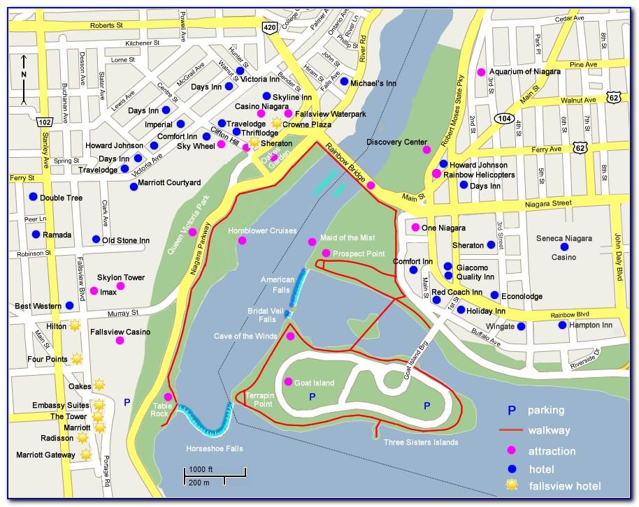 Map Of Hotels In Niagara Falls Ontario Canada