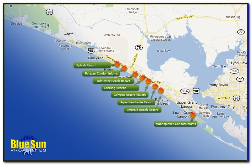 Map Of Hotels In Panama City Beach Florida