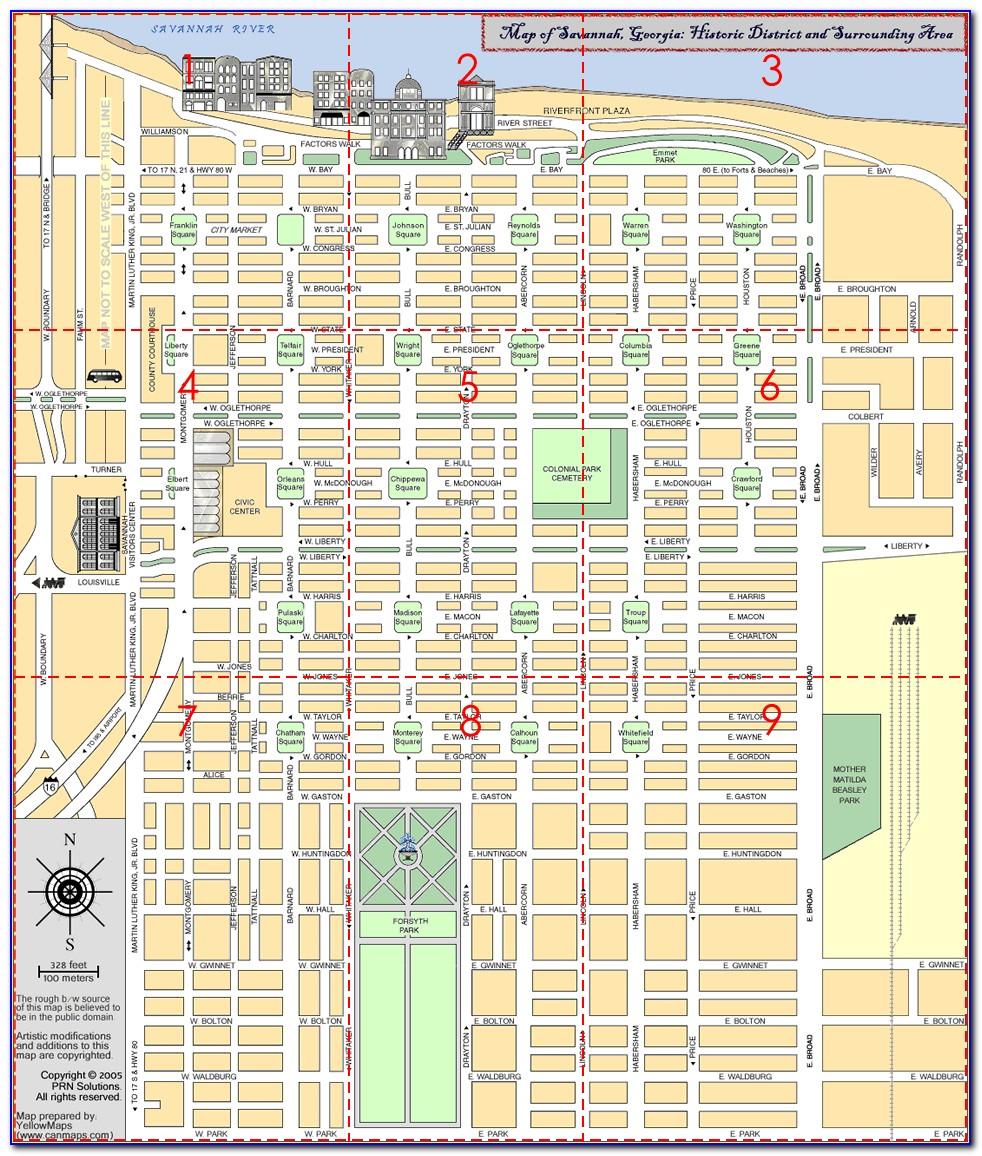 Map Of Hotels In Savannah Ga Historic District