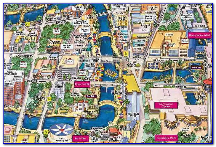 Map Of Hotels Near Riverwalk San Antonio Tx