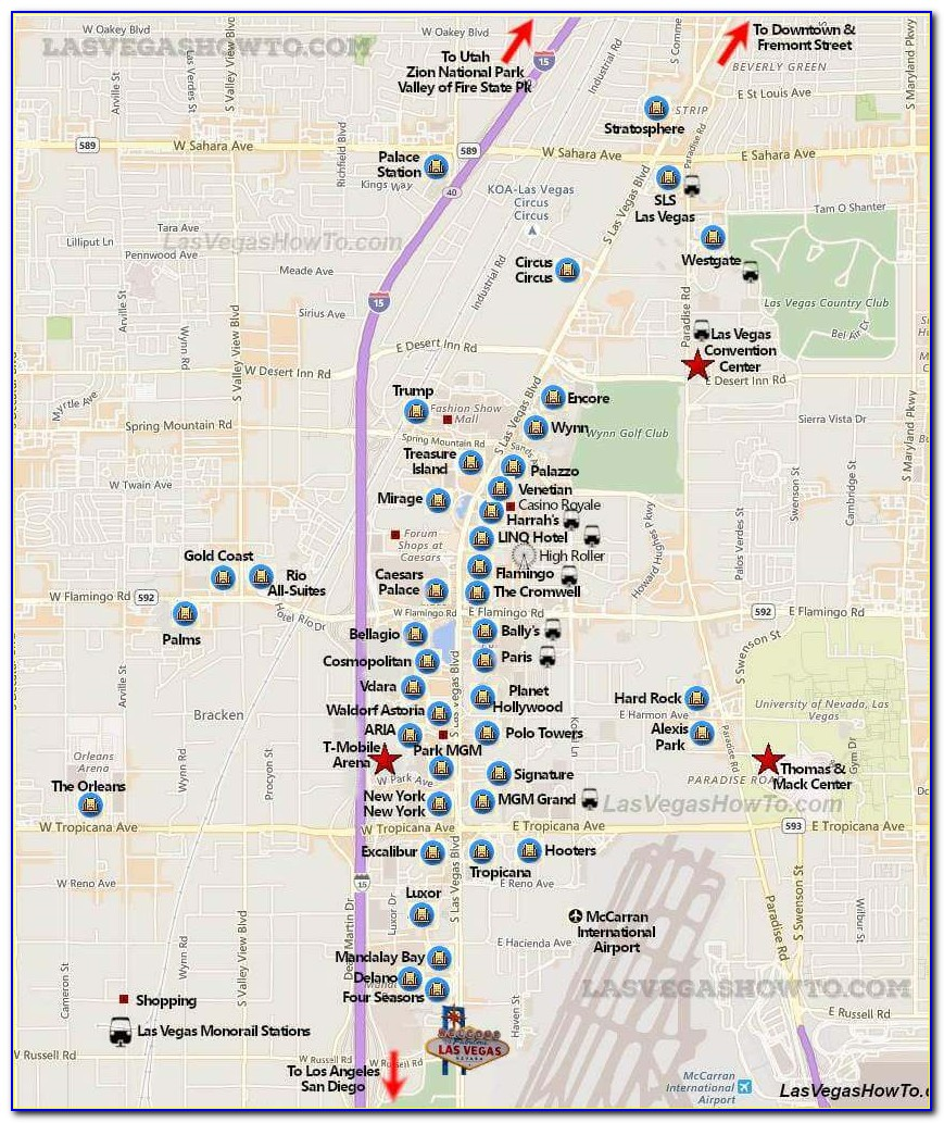 Map Of Hotels On Las Vegas Strip 2017