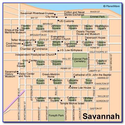Map Of Hotels On River Street Savannah Ga
