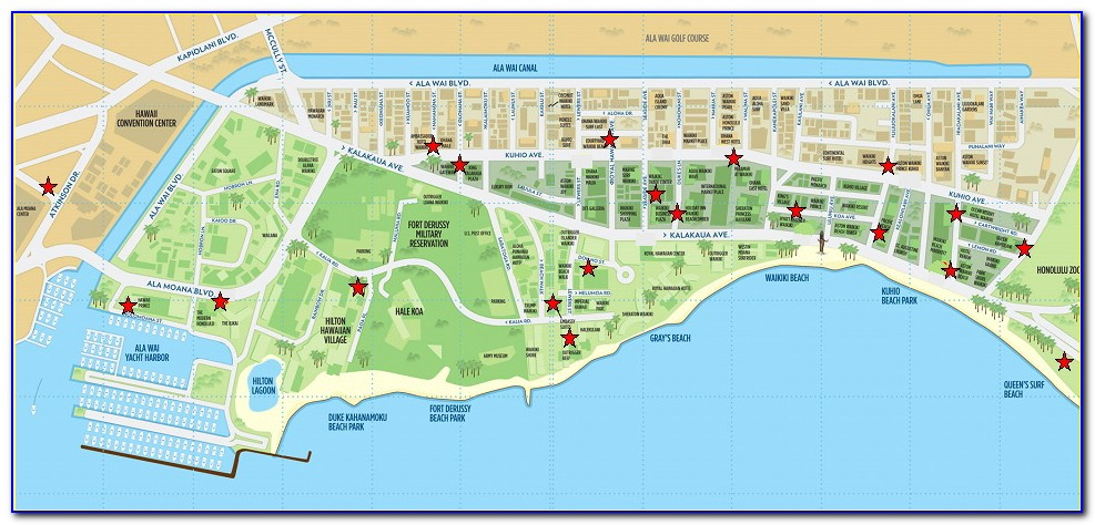 Map Of Hotels On Waikiki Strip