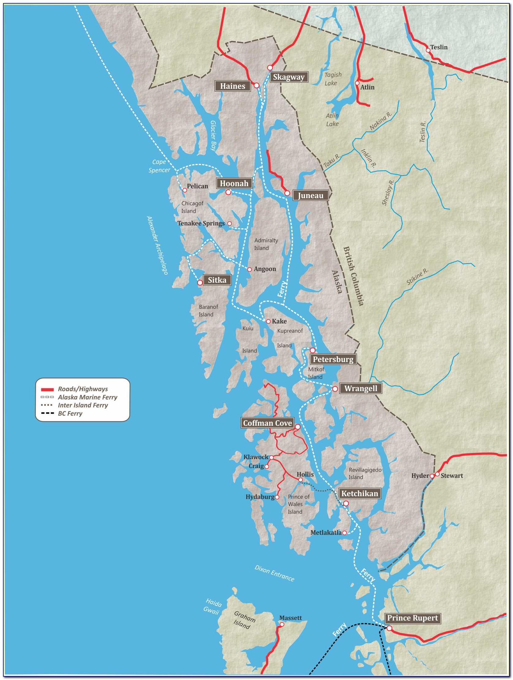 Map Of Inside Passage Cruise