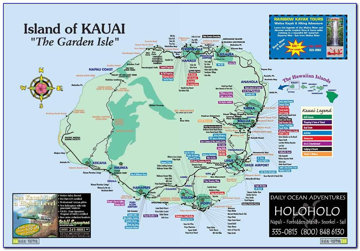 Map Of Kauai Island Hawaii