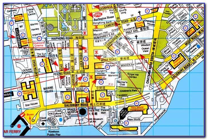 Map Of Kowloon Hotels Hong Kong