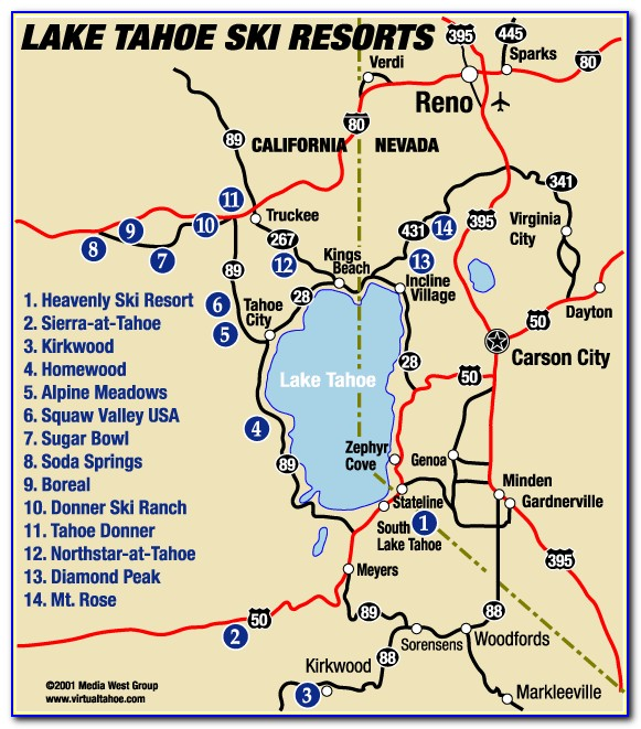 Map Of Lake Tahoe Hotels And Casinos