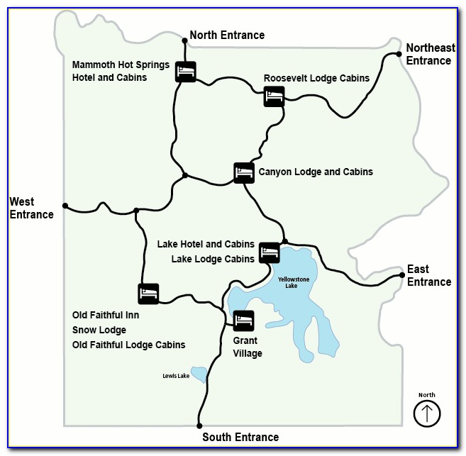 Map Of Lodging In Yellowstone Park
