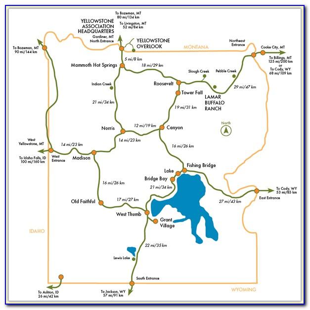 Map Of Lodging Near Yellowstone