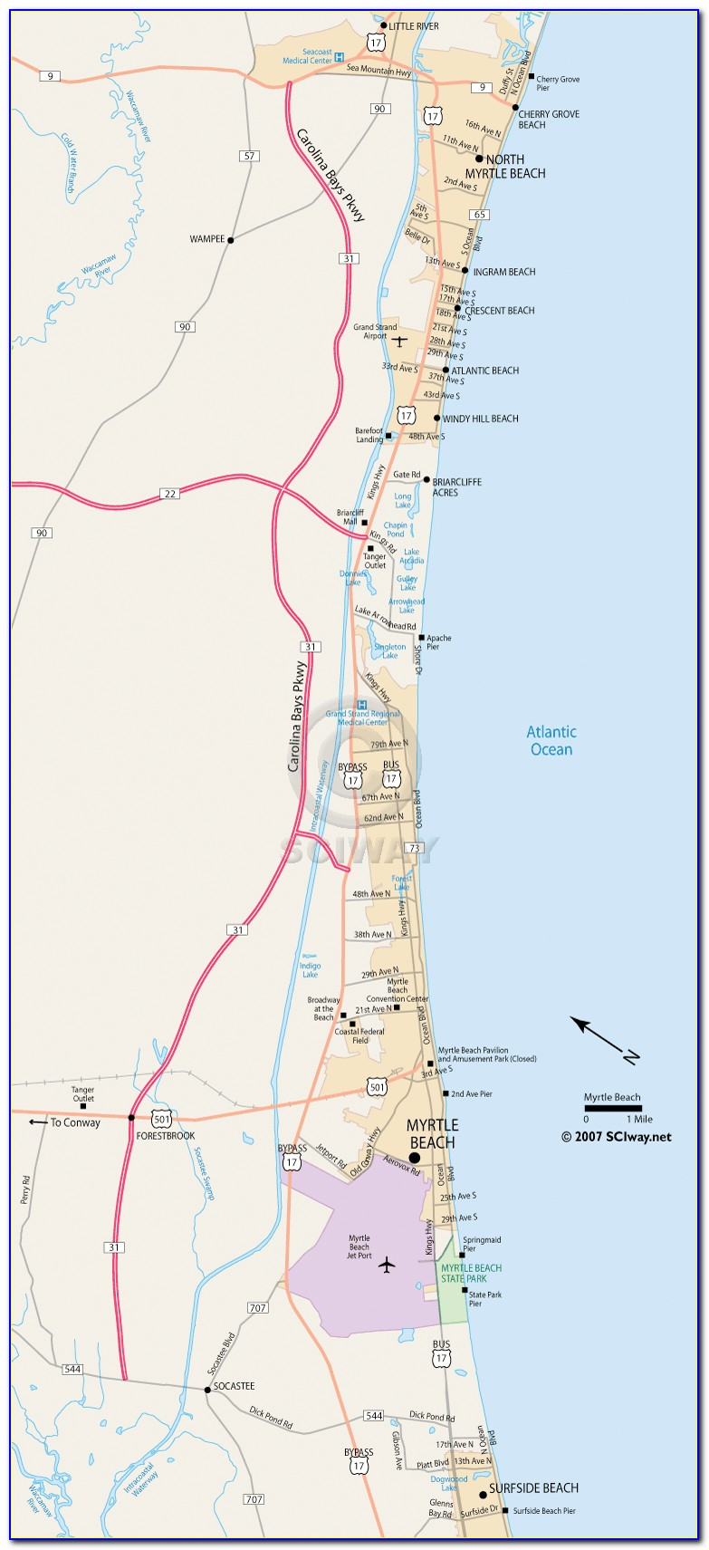 Map Of Motels In Myrtle Beach
