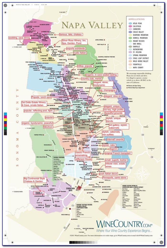 Map Of Napa Valley Ca Wineries