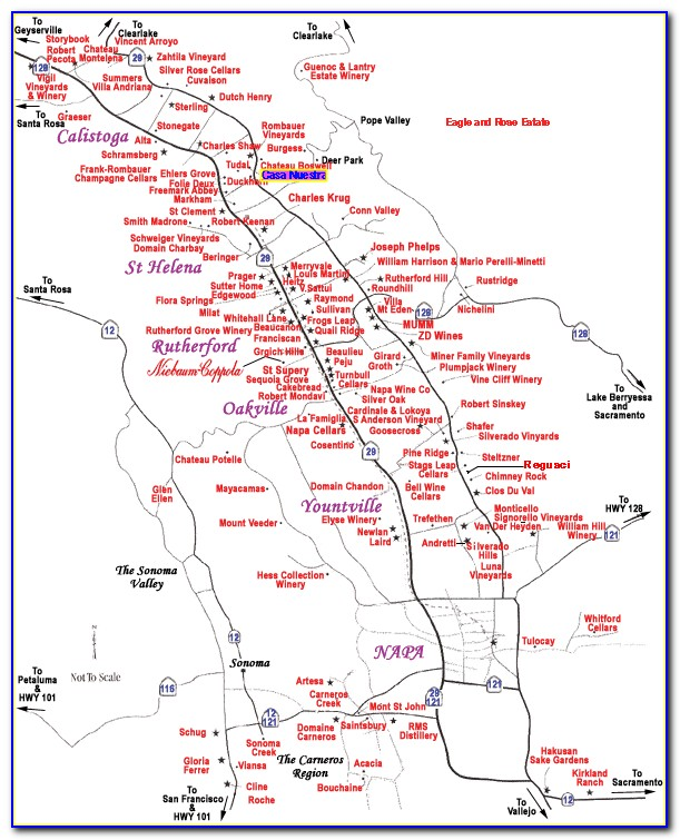 Map Of Napa Valley Wine Country
