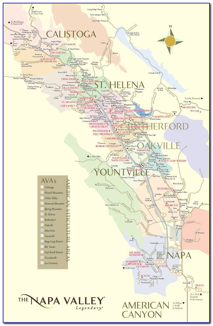 Map Of Napa Valley Wineries Poster