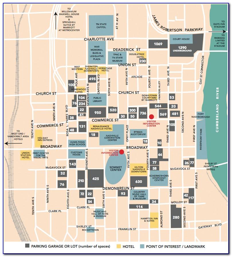 Map Of Nashville Tn Showing Hotels
