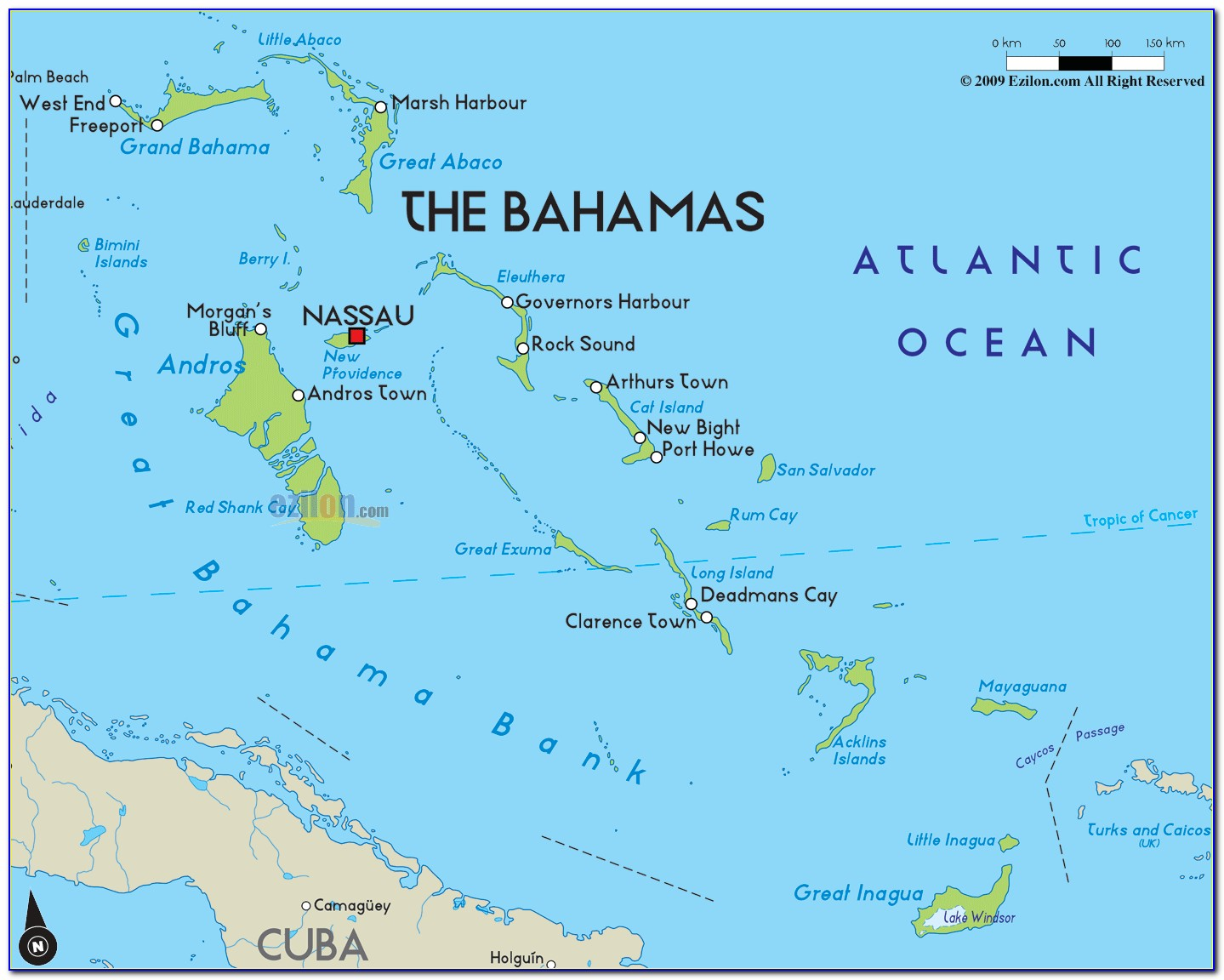 Map Of Nassau Bahamas And Florida