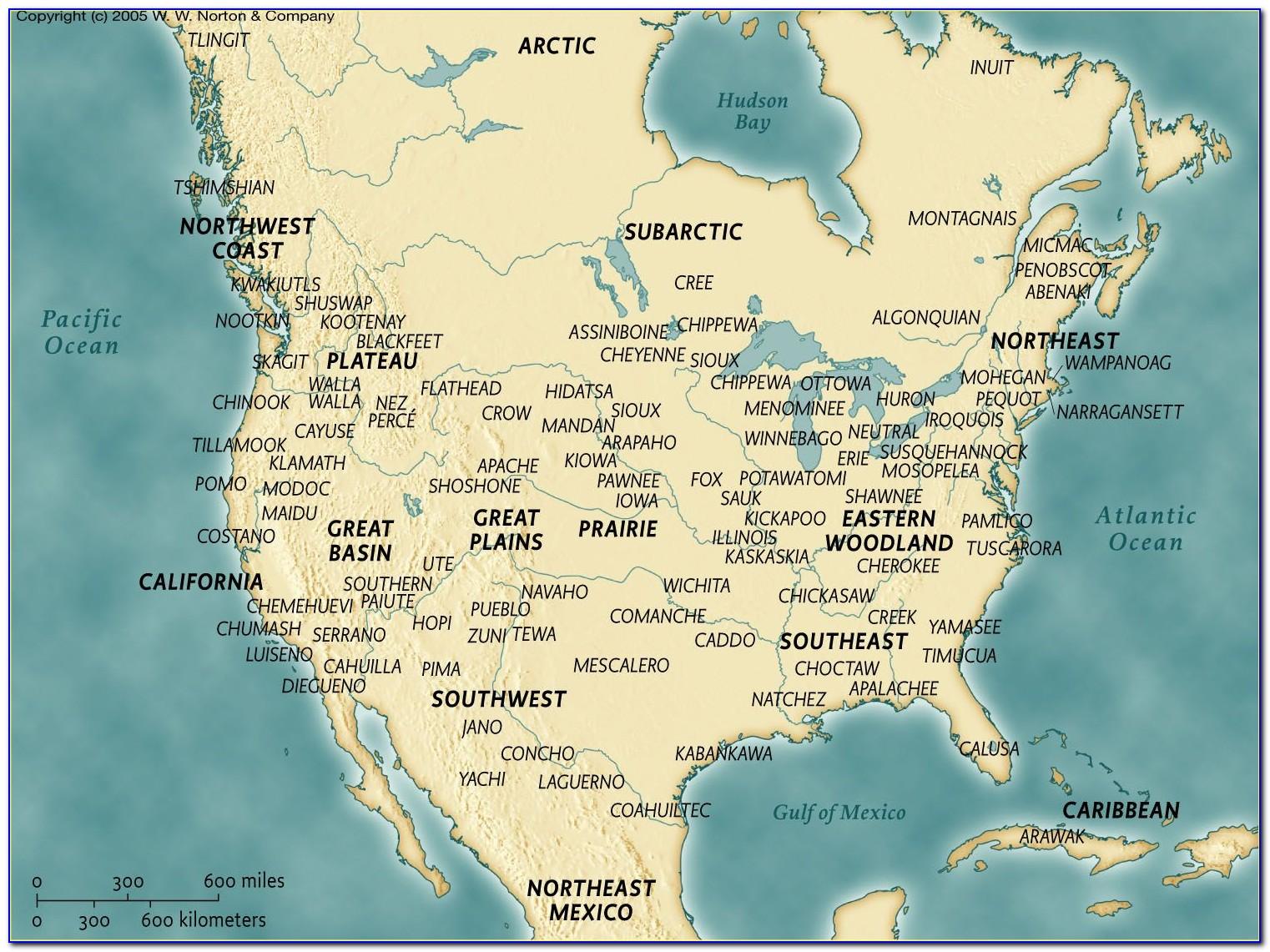 Map Of Native American Territories In North America