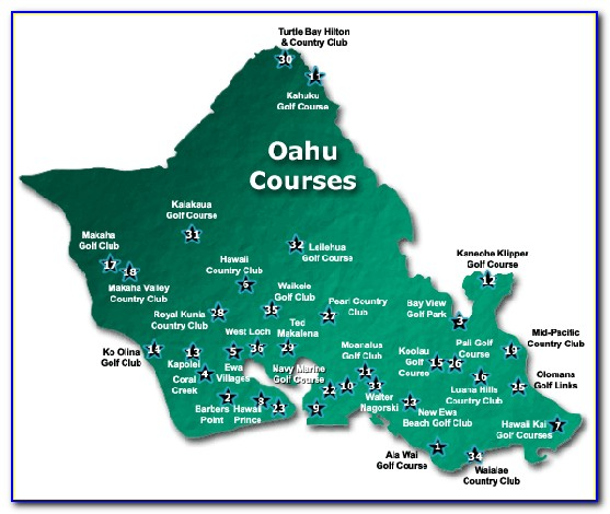 Map Of Oahu Golf Courses