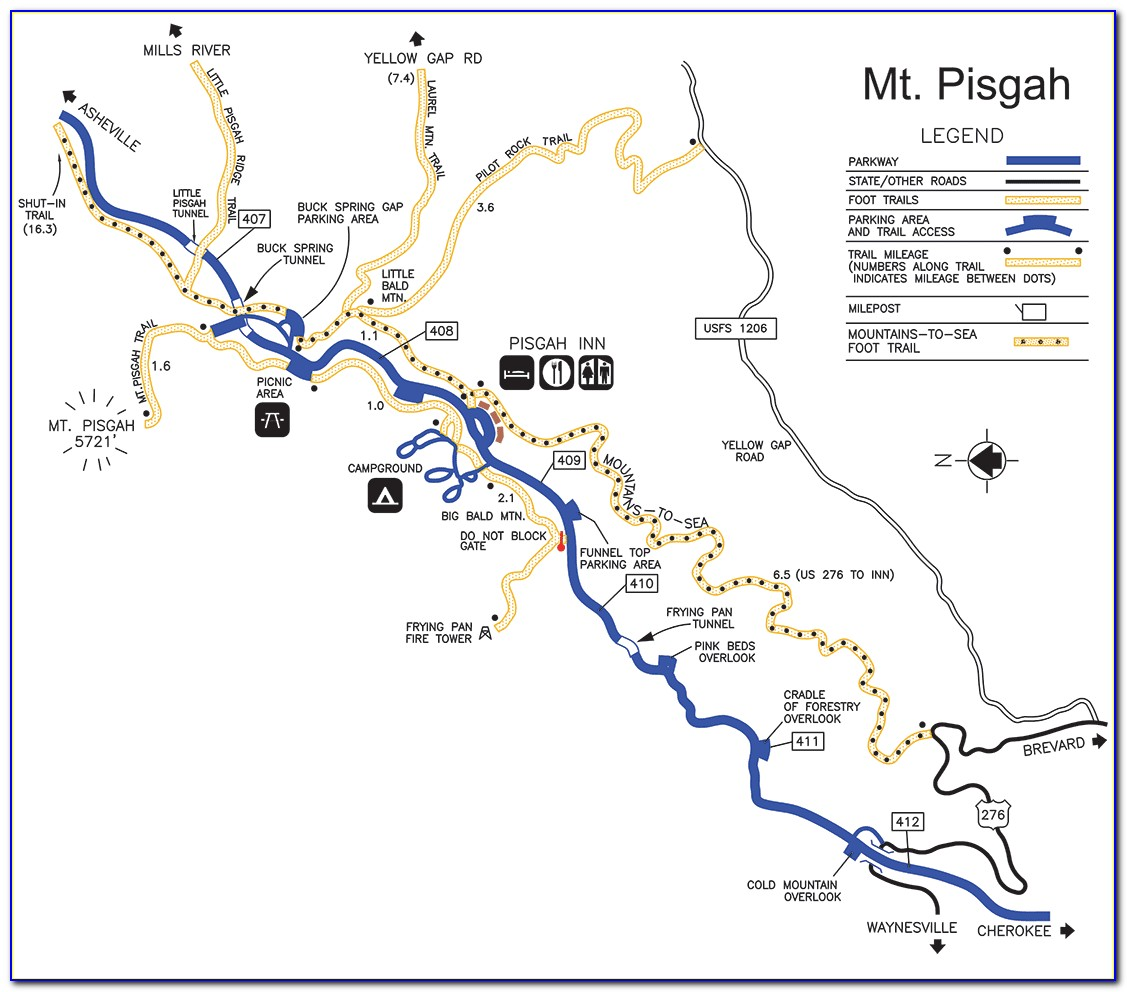Map Of Pisgah National Forest Hiking Trails