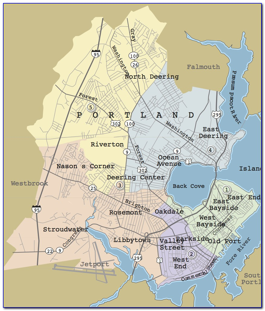 Map Of Portland Maine Hotels