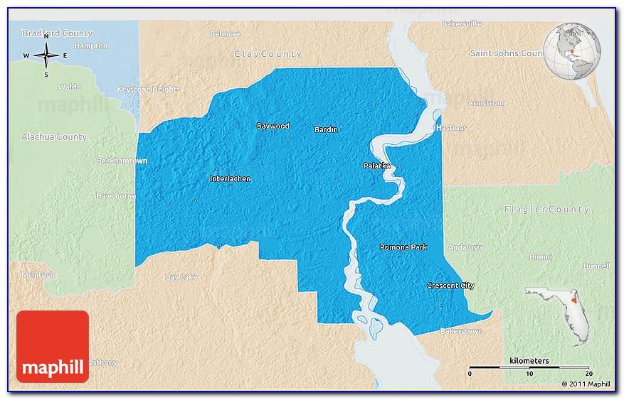 Political 3d Map Of Putnam County, Lighten.