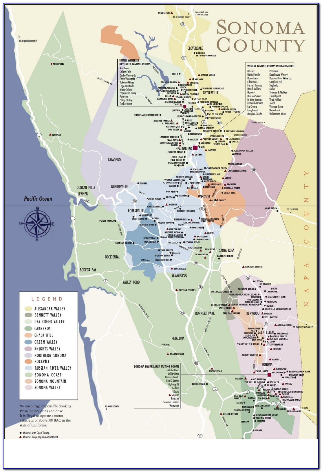 Map Of Sonoma County Calif