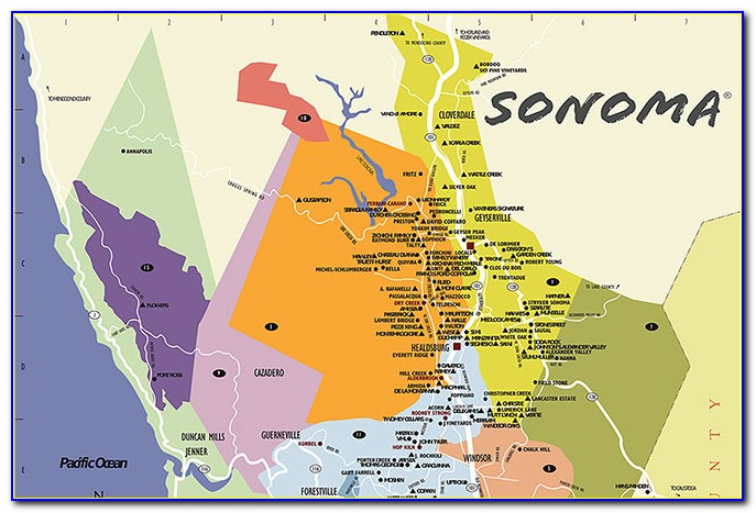 Map Of Sonoma Wine Country Ca
