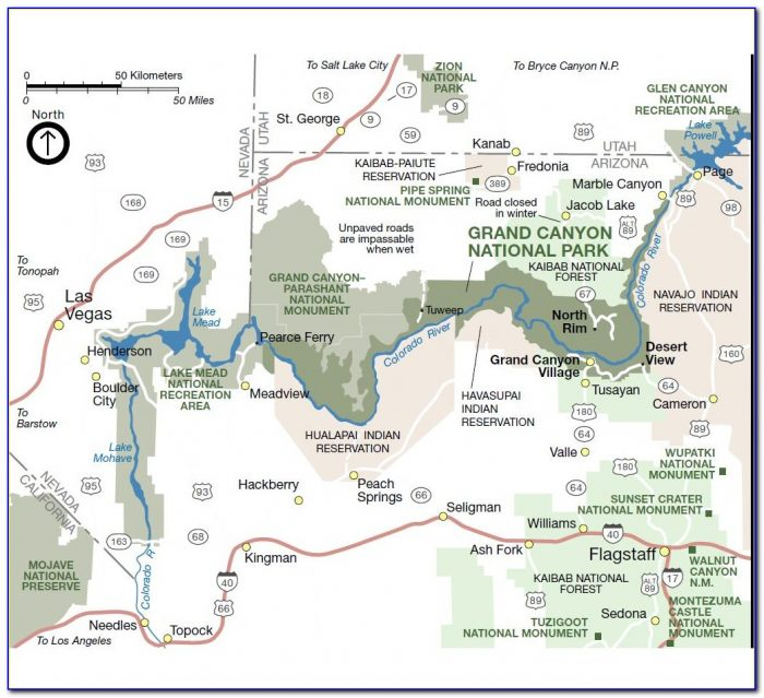 Map Of The Grand Canyon North Rim