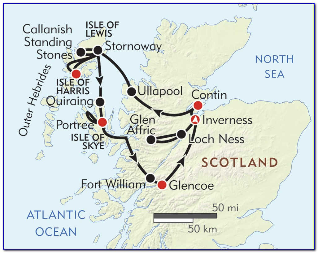 Map Of The Highlands And Islands Of Scotland