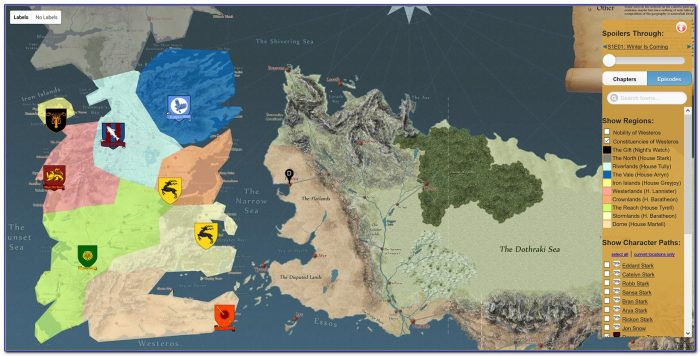 Map Of The Known World Game Of Thrones